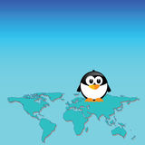 Penguin and map of the world art  Royalty Free Stock Images
