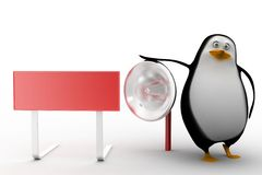 Penguin with megaphone and board Stock Photos