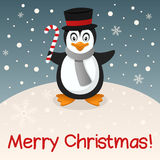Penguin Merry Christmas Card Stock Image