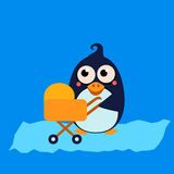 Penguin Mom and Baby in Stroller. Vector Royalty Free Stock Images