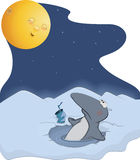 Penguin and the moon. Cartoon. Having a rest penguin a drinking drink Stock Photos