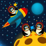 Penguin on moon. Vector illustration Royalty Free Stock Images