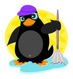 Penguin with Mop Stock Photo