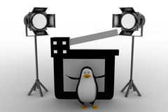 Penguin With Movie clapper And Studio Light Royalty Free Stock Photos