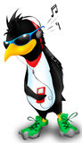 Penguin with music. Penguin listen music player in glasses royalty free illustration