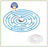 Penguin must go to fish through the maze and don't get lost Stock Photography