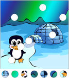 Penguin near the igloo and northern lights in the sky.  Stock Photo