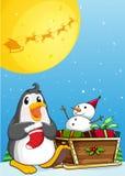 A penguin near the sleigh with a snowman. Illustration of a penguin near the sleigh with a snowman Stock Photo