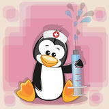 Penguin nurse. With a syringe in his hand royalty free illustration