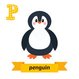 Penguin. P letter. Cute children animal alphabet in vector. Funn Royalty Free Stock Photography