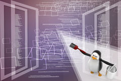 Penguin with paint pot and brush Illustration Royalty Free Stock Photos