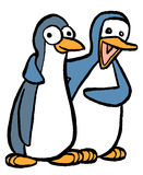 Penguin Pair. A pair of cartoon penguins Royalty Free Stock Photo