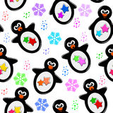 Penguin pattern. Seamless pattern with cartoon penguins and colorful snowflakes Stock Image