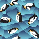 Penguin pattern, blue crystal ice background Royalty Free Stock Photo