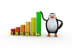 Penguin person growth progress bars. 3d illustration of penguin with growth progress bars Stock Photos