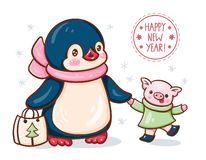 Penguin and a pig. New Year`s card with a lovely penguin and a pig. Vector illustration stock illustration