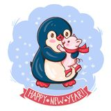Penguin and a pig. New Year`s card with a lovely penguin and a pig. Vector illustration royalty free illustration