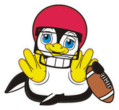 Penguin play to american football. Smiling penguin lying on his back in red big helmet and hold a football vector illustration