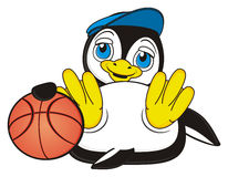 Penguin play to basketball vector illustration