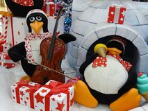 Penguin plays the double bass Royalty Free Stock Photo