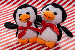 Penguin plush toys. Two smiling penguin plush toys embracing on red and white striped background Stock Image