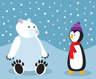 Penguin and a Polar Bear Stock Images