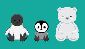 Penguin Polar Bear Doll Set Cartoon Vector Illustration Stock Photos