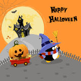 Penguin With Pumpkin. Cute little penguin delivering halloween pumpkin with wheelbarrow Stock Photography