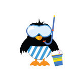 Penguin ready for the beach vector illustration Stock Photos