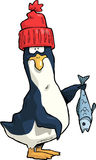 Penguin. In a red cap vector illustration