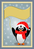 Penguin with a red hat and scarf Royalty Free Stock Images