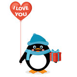 Penguin with red heart balloon and gift box Stock Photos