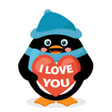 Penguin with red heart Royalty Free Stock Photos