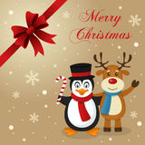 Penguin & Reindeer Christmas Card. Merry Christmas card with a cartoon penguin smiling and holding a candy cane and a cute reindeer greeting, with snow and a Stock Photography