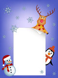 Penguin, reindeer and snowman background Stock Photography