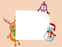 Penguin, reindeer and snowman background Stock Images