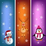 Penguin, reindeer and snowman bookmark Stock Photography
