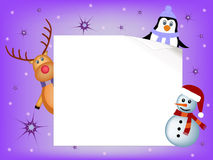 Penguin, reindeer and snowman concept Royalty Free Stock Photo