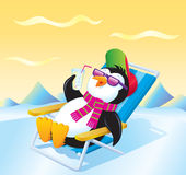 Penguin Relaxing with an Iced Drink Stock Photography