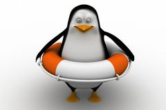 Penguin with safety boat Stock Image