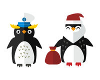 Penguin sailor santa vector animal character illustration. Royalty Free Stock Photos