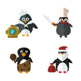 Penguin sailor santa vector animal character illustration. Royalty Free Stock Photography