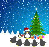 Penguin Santa-Claus Royalty Free Stock Photos
