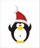 Penguin in Santa hat. Funny Penguin in red Santa hat Stock Images