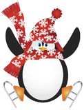 Penguin with Santa Hat Ice Skating Illustration Royalty Free Stock Images