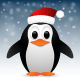 Penguin with santa hat. Vector illustration. Royalty Free Stock Photo