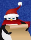 Penguin Santa Holding Scroll Illustration Royalty Free Stock Photos