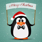 Penguin with Santa's hat for Christmas Stock Photo