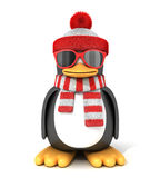 Penguin in a scarf and cap vector illustration