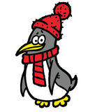 Penguin in scarf and hat illustration Royalty Free Stock Photography